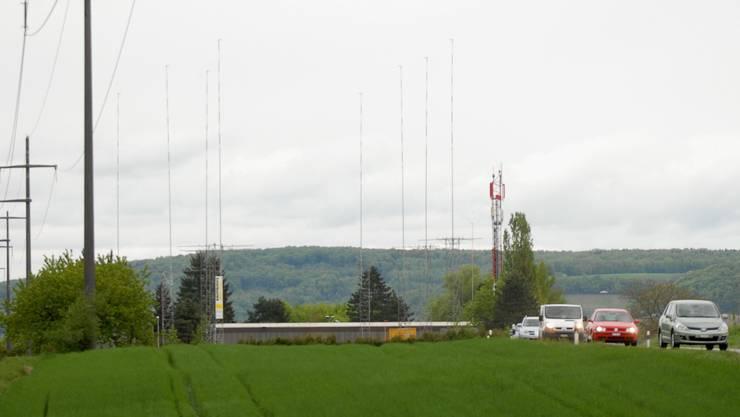 Die Bauprofile vermitteln einen Eindruck vom Ausmass des geplanten Holz-Heizkraftwerks. (Bild: Walter Schwager)