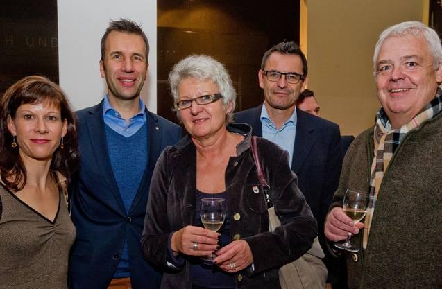 Nadja und Philipp Keller (Hirslanden-Klinik Aarau), Esther Schmid (Aarau Info), Hotelier Dominik Wyss und Marcel Suter (Aarau Standortmarketing).
