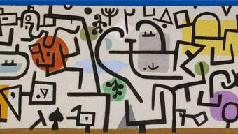 «Reicher Hafen (ein Reisebild)» von Paul Klee, 75,4 x 165 cm, Öl und Kleisterfarbe auf Zeitungspapier auf Jute, 1938.