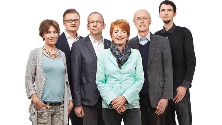Die grünliberale Sechserliste für die Nationalratswahlen vom 18. Oktober (v.l.): Petra Maarsen, Daniel Studer, Markus Kobel, Nicole Hirt, Rudolf Hafner und Michael Sebel.