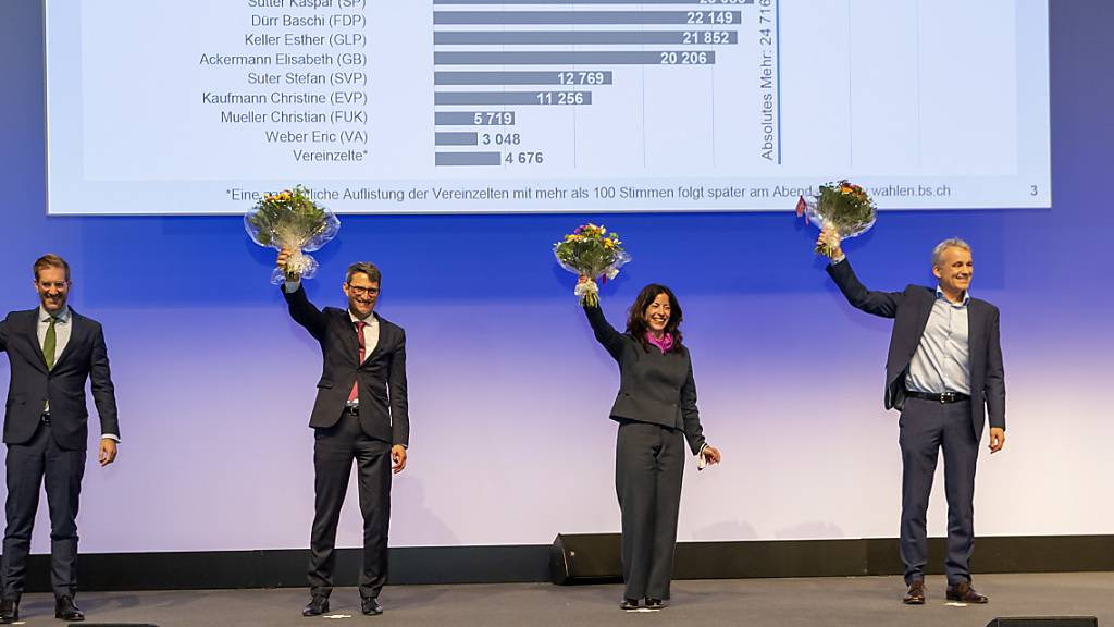 Eine Kandidatin und drei Kandidaten schafften den Sprung in den Basler Regierungsrat im ersten Wahlgang (von links): Conradin Cramer (LDP, bisher), Lukas Engelberger (CVP, bisher), Tanja Soland (SP, bisher) und Beat Jans (SP, neu).