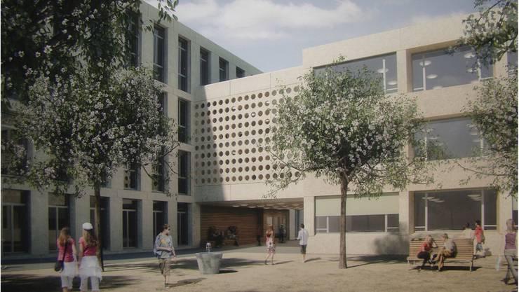 Eine Visualisierung des neuen Schulhauses.