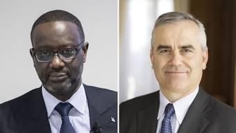 Der ehemalige und der jetzige CEO der Credit Suisse: Tidjane Thiam (links) und Thomas Gottstein (rechts).