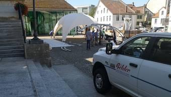Das Zelt für das Aargauer Kunsthaus kommt aus Luzern.