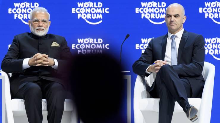 Bundespräsident Alain Berset (rechts) mit dem indischen Premierminister Narendra Modi.