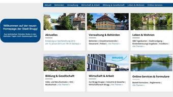 Bunt und strukturiert präsentiert sich die neue Homepage der Stadt Brugg.