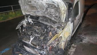 Das Fahrzeug brannte trotz Eingreifen der Feuerwehr in Binningen aus.