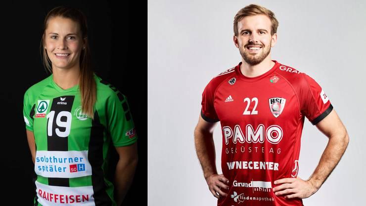 Nina van Polanen (l.), Handballerin in Diensten des NLB-Klubs HV Olten, und Sergio Muggli, Handballer in Diensten des HSC Suhr Aarau, trainieren gemeinsam im «Homeoffice».