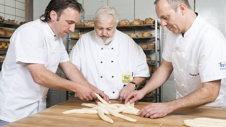 """Die Bäckerei Frei übernimmt den Badener """"Himmel"""" und seine beiden Filialen in Baden und Wettingen. Im Bild: Dominik Frei, Firmengründer Toni Frei und Hansjörg Frei."""