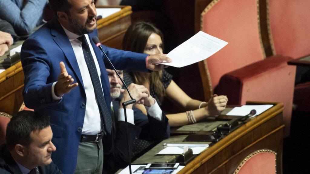 Italiens Innenminister und Lega-Chef Matteo Salvini am Dienstag im Senat in Rom.