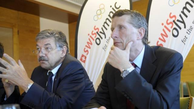 Jörg Schild, Präsident der Dachorganisation Swiss Olympic (links) und Marc-André Giger, CEO von Swiss Olympic