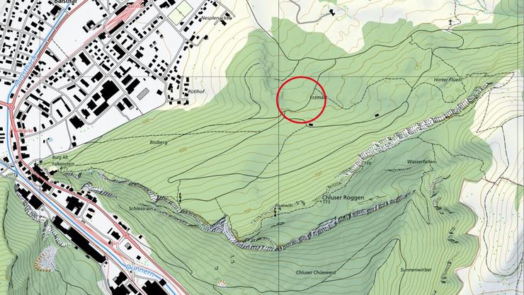 Das ist eine Karte der Klus. An der markierten Stelle befindet sich die Erzmatt.