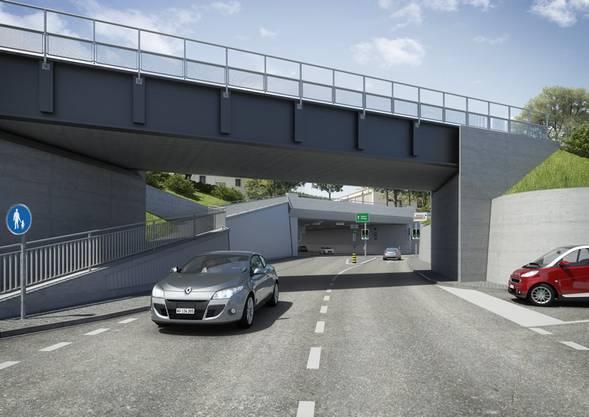 Visualisierung der neuen SBB-Brücke am anderen Ende der Ostumfahrung, nur zirka 100 Meter von der Rheinbrücke entfernt, die nach Deutschland führt.