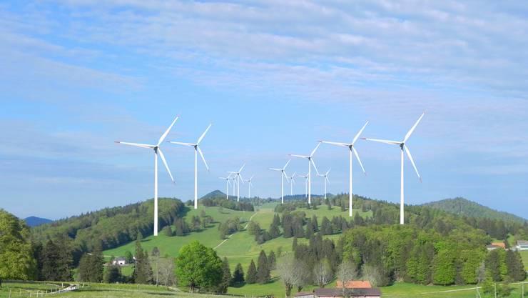"""So sehen die Windparkgegner die beiden Windparks:  Fotomontage von """"Pro Grenchen"""""""