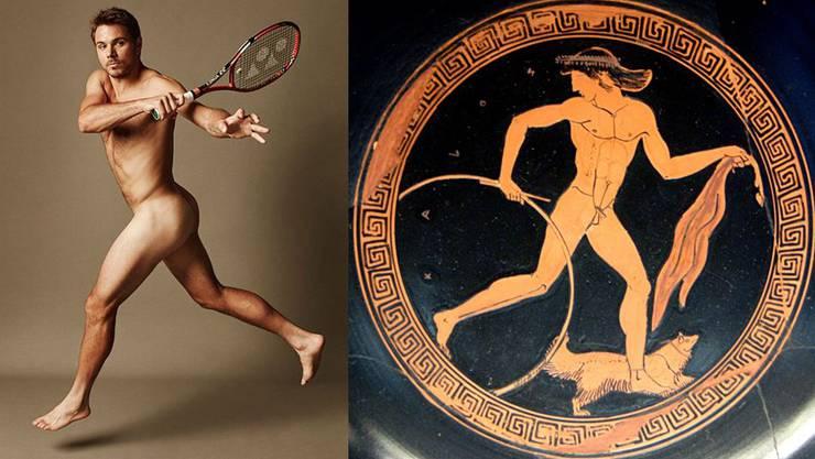 In «Gymnastik» steckt das altgriechische Wort gymnós, was nackt bedeutet: Stan Wawrinka, Abbildung eines Athleten auf einer griechischen Schale.
