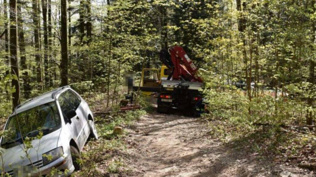 Rentner missachtet Fahrverbot und bleibt mit Auto im Wald stecken