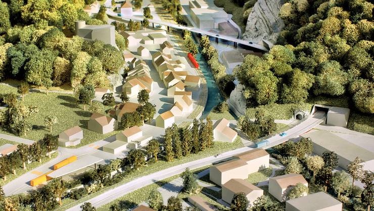 Modell der Verkehrsumfahrung Klus (Archiv)
