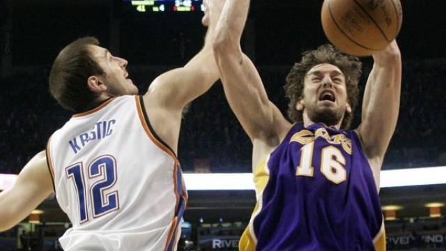 Die Los Angeles Lakers siegten bei Oklahoma City knapp