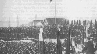 Aufmarsch in Vindonissa: Die Gründungsversammlung 1918.