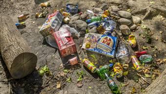Bierflaschen und Karton achtlos am Aareufer zurückgelassen.