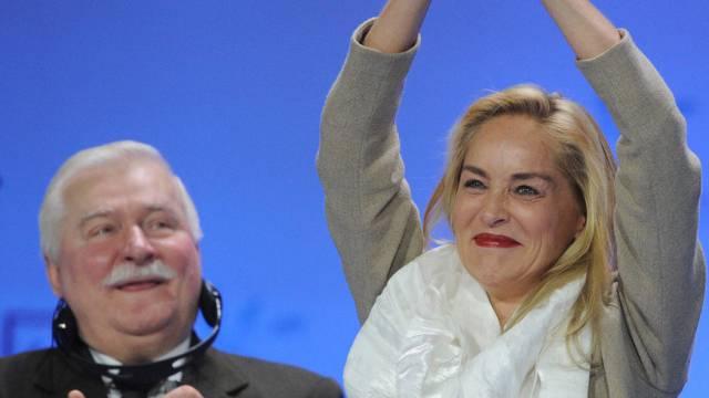 Sharon Stone und Lech Walesa