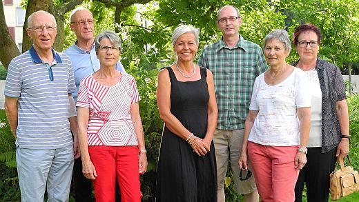 Die Vorstandsmitglieder v. l. n. r.: Walter Lüthy, Urs Strub, Christine Wehrli, Barbara Kipfer, Roland Leupi, Elisabeth Senn und Rosmarie Keller-Haller
