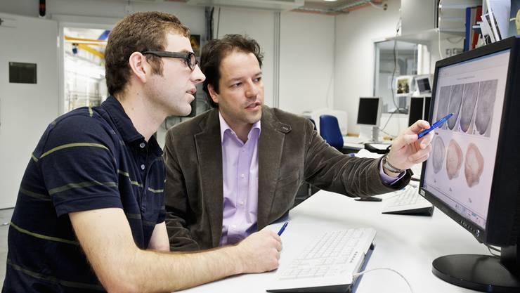 Die PSI-Forscher Bernd Pinzer und Marco Stampanoni diskutieren die Ergebnisse der Untersuchung zur Alzheimer-Krankheit