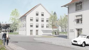 Blick von der Dorfstrasse zum geplanten Dorfkern, rechts geht es nach Baden, links nach Lengnau. Visualisierung/Stoos architekten
