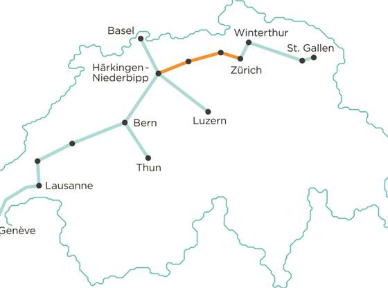 Das ist eine mögliche Streckenführung für das unterirdische Gütertransportsystem Cargo sous terrain. Der Bundesrat will das Projekt nicht finanziell unterstützen, aber mit einem Gesetz. (Archiv)