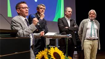 Die Referenten (v.l.): Pirmin Bischof, Sekretär Staatspersonalverband, Unternehmer Josef Maushart, Roland Misteli und Beat Käch, Mitglieder Gesamtarbeitsvertrags-Kommission (Gavko).