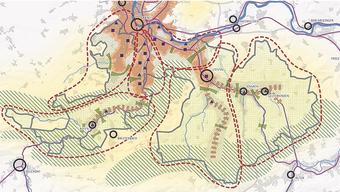 Die Regierung teilt den Kanton in drei Gebiete auf: Verdichtungsraum (orange), ländliche Entwicklungsachsen (Braun gestreift) und ländlicher Raum (gelb), Wobei die Natur auf den grün gestreiften Flächen Vorrang hat.