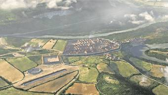 Die 3D-Rekonstruktion zeigt, wie das römische Legionslager Vindonissa eingebettet war in die Topografie der heutigen Region Brugg/Windisch. Bild: zvg/ikonaut