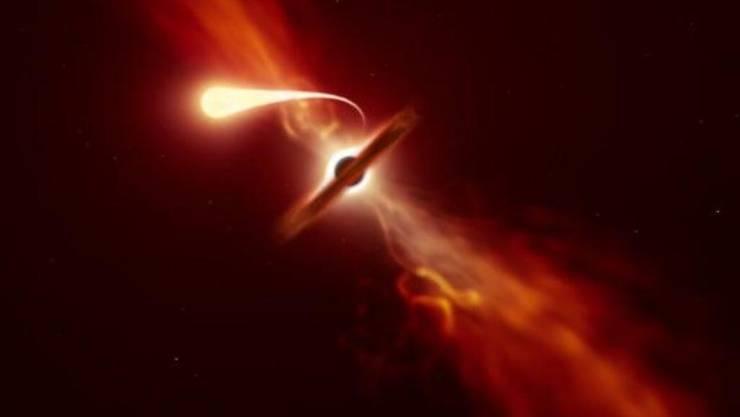 """Künstlerische Darstellung einer """"Spaghettifizierung"""", dem Lichtphänomen, das sich zeigt, wenn ein Schwarzes Loch einen Stern verschluckt. Forschern in Garching bei München ist es gelungen, den Moment zu erwischen. (Bild Eso)"""