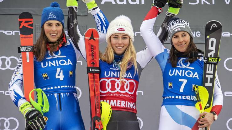 Das Podest: Shiffrin gewinnt vor Petra Vlhova und Holdener.