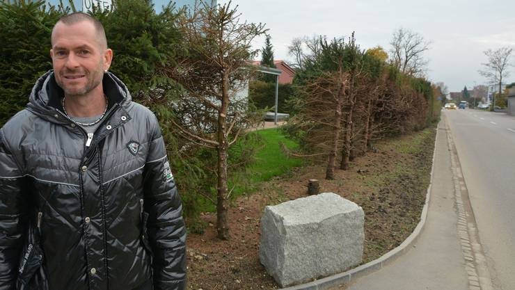 Rolf Joachim vor der deutlich zurückgeschnittenen Hecke an der Fulenbacherstrasse.