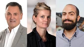 Die Neuen von links nach rechts: Max Suter (SVP), Daniel Ballmer (Grüne) und Laura Peter (SP).
