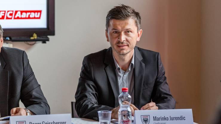 Der Vorstand des FC Aarau stellt den neuen Cheftrainer, Marinko Jurendic, vor. Pressekonferenz im Stadion Brügglifeld vom 7. Juni 2017.