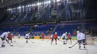 Die Schweizer während des Abschlusstrainings in der eindrucksvollen Steel-Arena in Kosice.