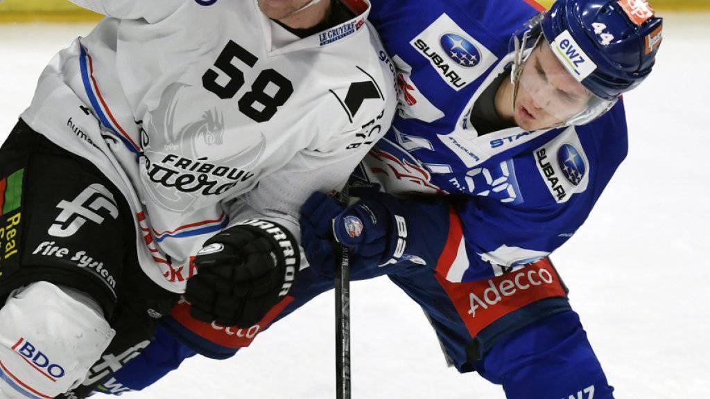 Die ZSC Lions mit Pius Sutter (rechts) und Fribourg mit Anton Gustafsson lieferten sich eine hart umkämpfte Partie