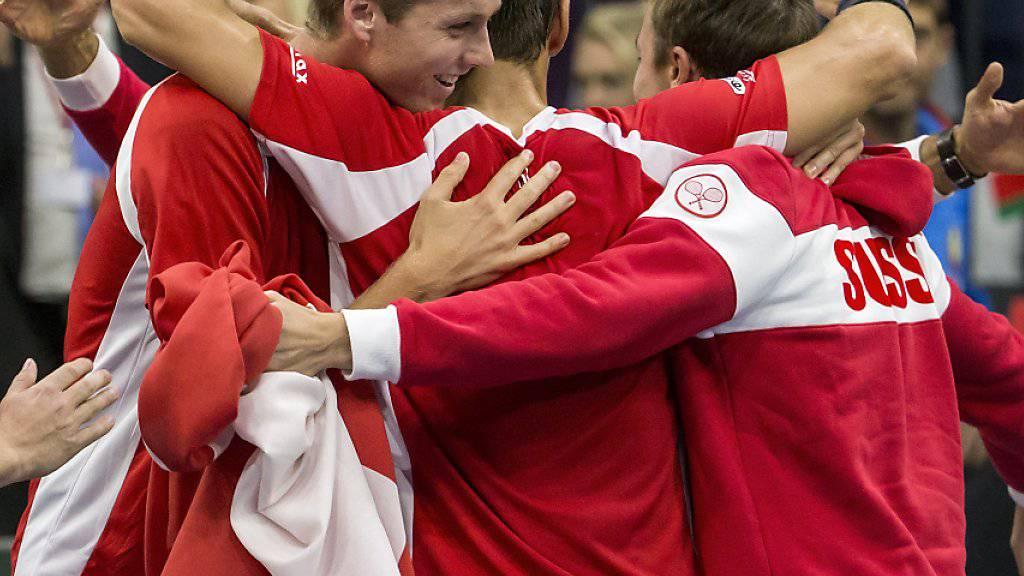 Dreimal schaffte das Schweizer Davis-Cup-Team zuletzt im Playoff den Klassenerhalt: Im September geht es nun gegen Schweden