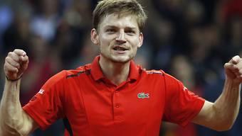 Belgiens David Goffin freut sich über den hart erkämpften ersten Punkt im Davis-Cup-Final gegen Grossbritannien