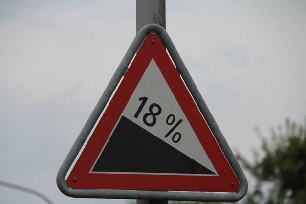 Die Hochwachtstrasse weist ein Gefälle von 18 Prozent auf.
