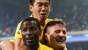 Ramos, Kagawa und Immobile (v.l.) feiern BVB-Sieg