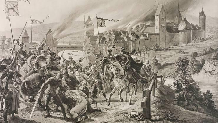 Karl Jauslins Lithografie (1896) zeigt eine Kampfszene zwischen Brugger Bürgern (Fähnrich li.)           und Angreifern (rechts Anführer Hans von Rechberg und Thomas von Falkenstein).