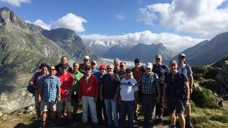 Los Grillos mit Art Furrer vor dem Aletschgletscher