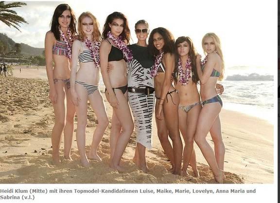 Heidi mit Luise, Maike, Marie, Lovelyn, Anna Maria und Sabrina (v.l.) Bild: Pro 7/Enrique Badulescu