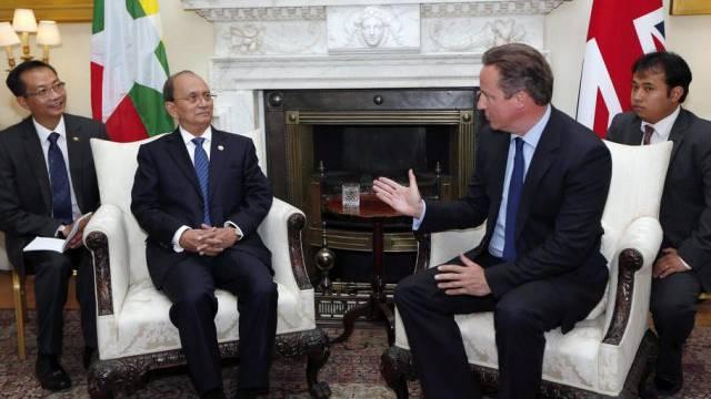 Thein Sein (l.) beim Treffen mit David Cameron