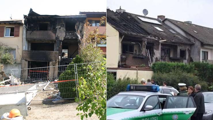 Bild links: Das Reihenhaus in Rüfenach ist total zerstört. Bild rechts: Das Reihenhaus in Deutschland ist auch nicht mehr bewohnbar. (Bild rechts: Screenshot «Bild»)