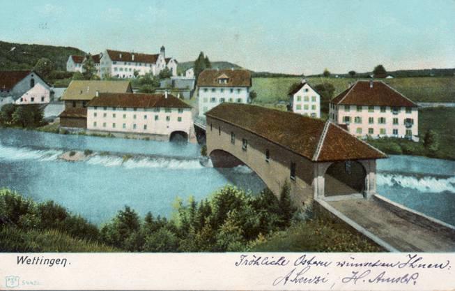 Die Holzbrücke Kloster Wettingen anno 1912.