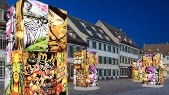 Auf dem Münsterplatz sollen bis zu acht Monolithen aufgestellt werden, deren Wände aus alten Laternenseiten bestehen. Diese werden von den Cliquen zur Verfügung gestellt.